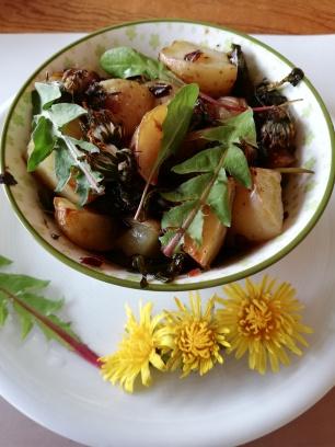 pommes de terre et pissenlit au four