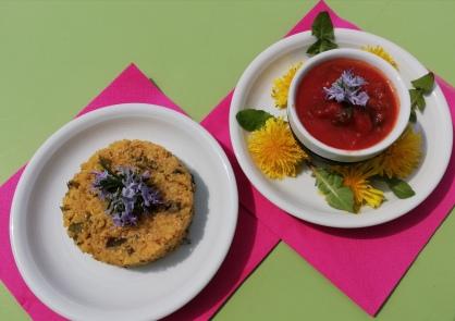 galette de polenta aux herbes du printemps et sa sauce tomates